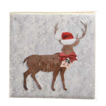 Σετ 20τχ Χριστουγεννιάτικες Χαρτοπετσέτες με Τάρανδο 16,5x16,5cm