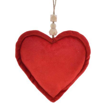 Χριστουγεννιάτικο στολίδι Καρδιά βελούδινη Κόκκινη 14x19cm