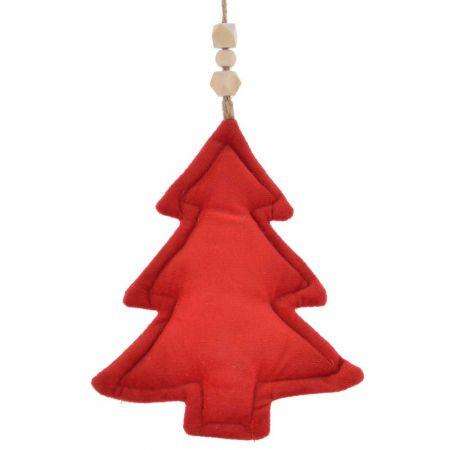 Χριστουγεννιάτικο στολίδι Δέντρο βελούδινη Κόκκινη 14x19cm