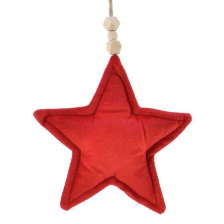 Χριστουγεννιάτικο στολίδι Αστέρι βελούδινο Κόκκινο 14x19cm