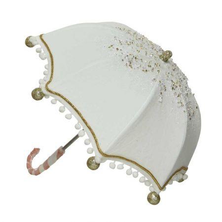 Χριστουγεννιάτικη ομπρέλα βελούδινη Λευκή 42x45cm