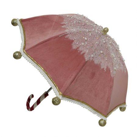Χριστουγεννιάτικη ομπρέλα βελούδινη Ροζ 42x45cm