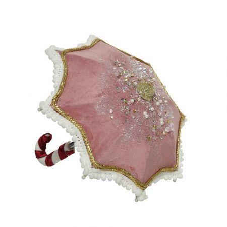 Χριστουγεννιάτικη ομπρέλα βελούδινη Ροζ 18x19cm