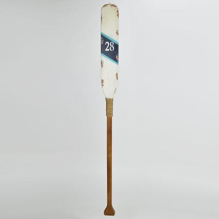 Διακοσμητικό ξύλινο κουπί Λευκό - Καφέ 122cm