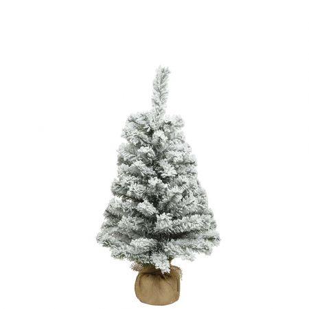Χριστουγεννιάτικο δεντράκι χιονισμένο με βάση τσουβάλι 35x60cm