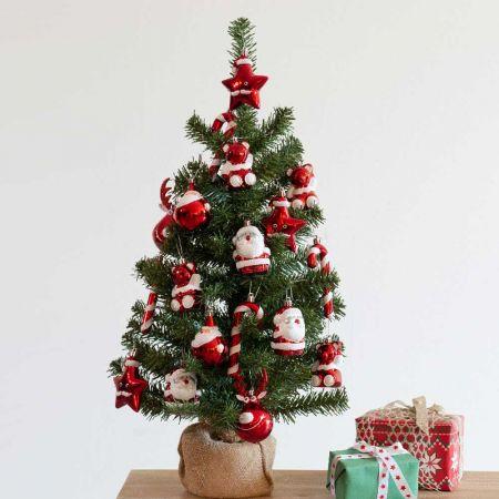 Χριστουγεννιάτικο δεντράκι με βάση τσουβάλι + 20τχ πλαστικά στολίδια 41x75cm