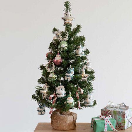 Σετ Χριστουγεννιάτικο δεντράκι με βάση τσουβάλι + 20τχ πλαστικά στολίδια 41x75cm