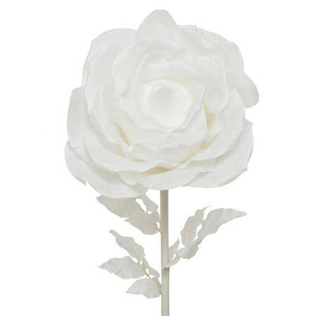 XL Διακοσμητικό τριαντάφυλλο Λευκό με glitter 50x136cm