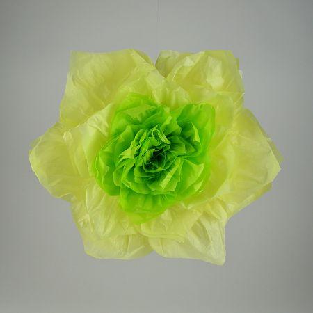 XL Διακοσμητικό χάρτινο άνθος λουλουδιού Κίτρινο - Πράσινο 45cm