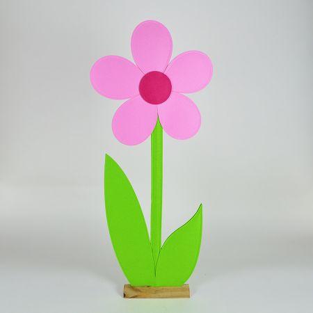 Μαργαρίτα από τσόχα σε ξύλινη βάση Ροζ - Πράσινη 50x9x120cm