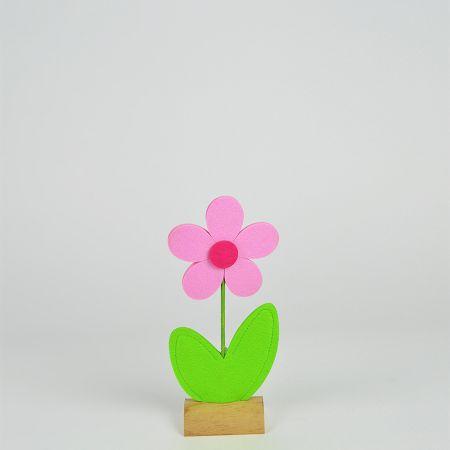 Μαργαρίτα από τσόχα σε ξύλινη βάση Ροζ - Πράσινη 13x5x32cm
