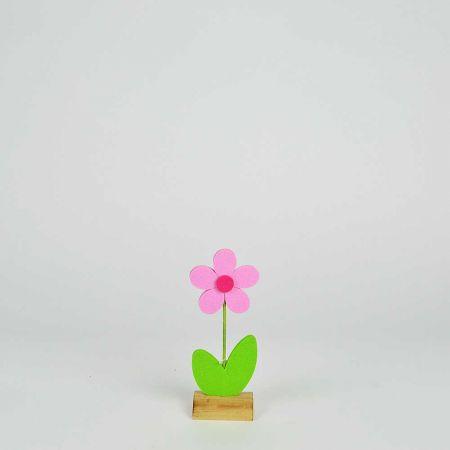 Μαργαρίτα από τσόχα σε ξύλινη βάση Ροζ - Πράσινη 9x5x23,5cm