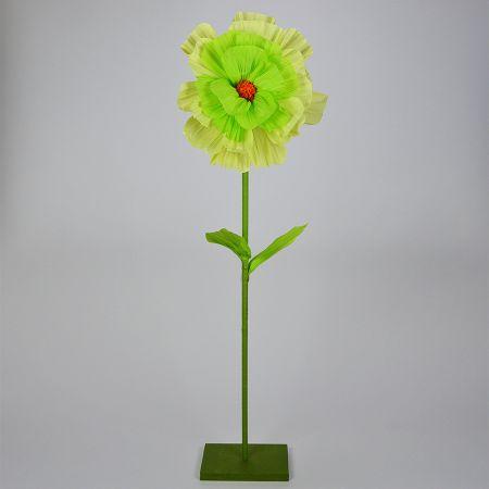 Διακοσμητικό άνθος με μίσχο και βάση Πράσινο - Κίτρινο 130x30cm