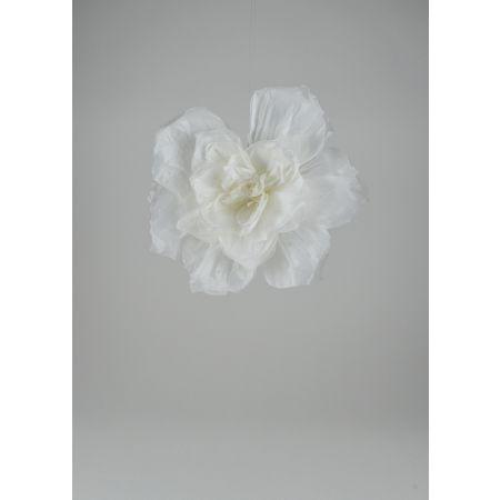 Διακοσμητικό χάρτινο άνθος λουλουδιού, Λευκό 35cm
