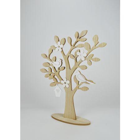 Ξύλινο Ανοιξιάτικο δεντράκι με άνθη-πουλάκια , 40x9x50cm