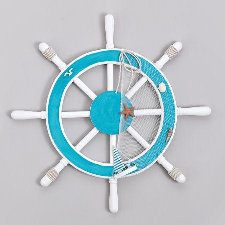 Διακοσμητικό τιμόνι καραβιού - πηδάλιο Γαλάζιο - Λευκό 59cm