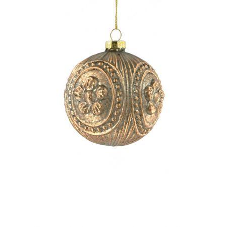 Χριστουγεννιάτικη μπάλα γυάλινη Μπαρόκ Χρυσή 8cm