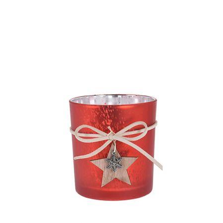 Χριστουγεννιάτικο γυάλινο κηροπήγιο - ποτήρι με ξύλινο Αστέρι Κόκκινο 7,5x8cm