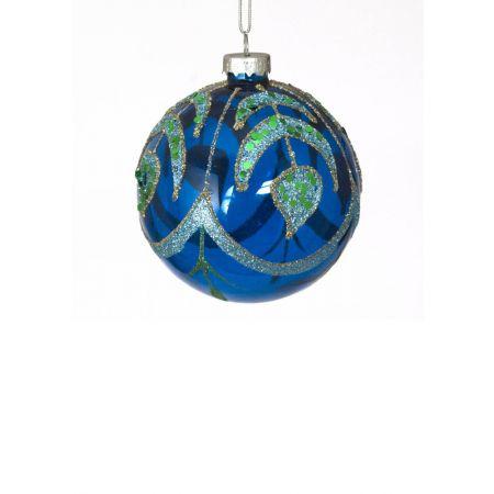 Χριστουγεννιάτικη μπάλα γυάλινη Μπλε-Διάφανη 8cm
