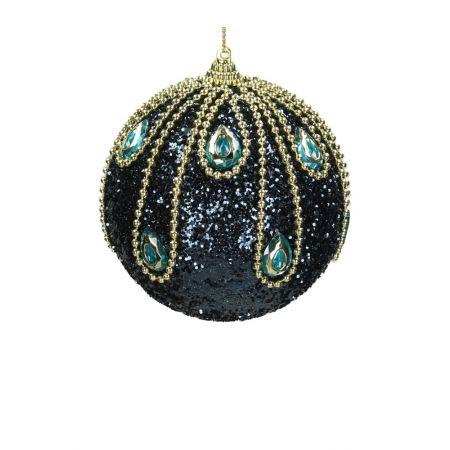 Χριστουγεννιάτικη μπάλα Μπλε-Χρυσό 10cm