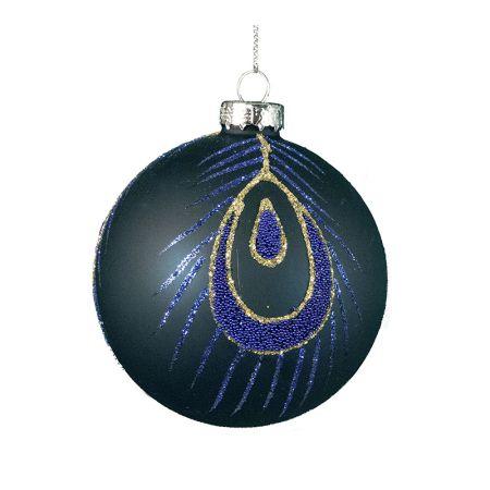 Χριστουγεννιάτικη μπάλα γυάλινη Μπλε-Χρυσό 8cm