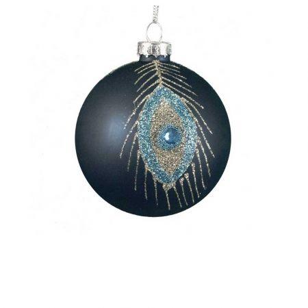 Χριστουγεννιάτικη μπάλα γυάλινη Γαλάζιο-Χρυσό 8cm