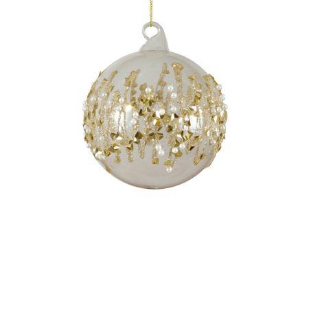 Χριστουγεννιάτικη μπάλα γυάλινη με πέρλες και gliter Χρυσή 8cm
