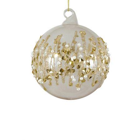 Χριστουγεννιάτικη μπάλα γυάλινη με πέρλες και gliter Διάφανη-Χρυσή 8cm