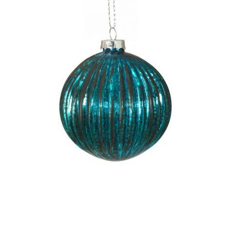 Χριστουγεννιάτικη μπάλα γυάλινη πλισέ Πετρόλ - Μαύρο 8cm