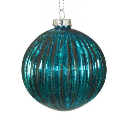 Χριστουγεννιάτικη μπάλα γυάλινη πλισέ Πετρόλ - Μαύρο 10cm