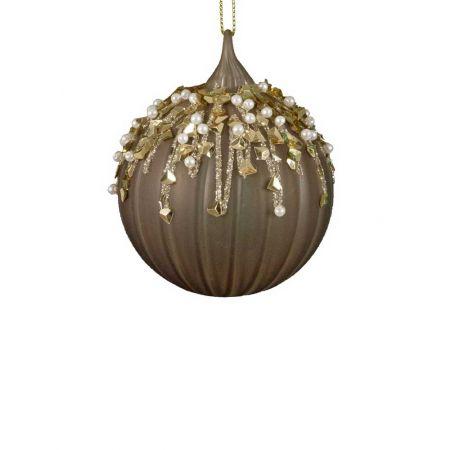 Χριστουγεννιάτικη μπάλα γυάλινη με πέρλες και glitter καφέ, 8cm