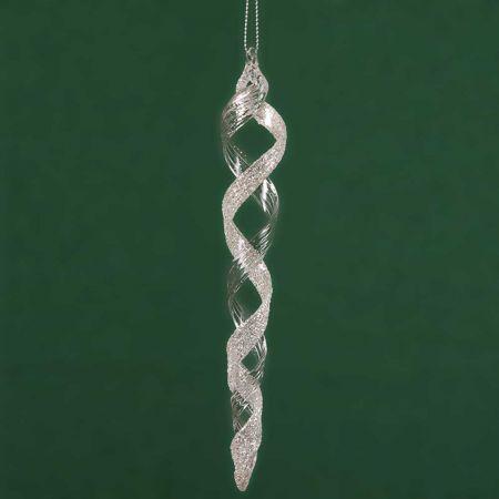 Στολίδι-Σταλακτίτης γυάλινος με στρας ασημί/διάφανο, 18cm