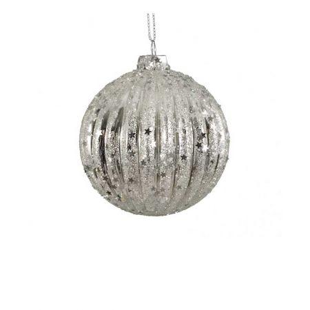 Χριστουγεννιάτικη μπάλα γυάλινη πλισέ με glitter Ασημί 8cm