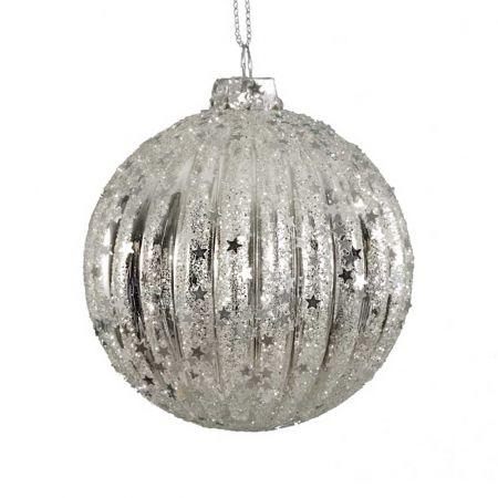Χριστουγεννιάτικη μπάλα γυάλινη πλισέ με glitter Ασημί 10cm