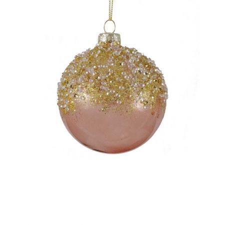 Χριστουγεννιάτικη μπάλα γυάλινη με χαντράκια και glitter ροζ - χρυσό, 8cm