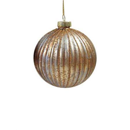 Χριστουγεννιάτικη μπάλα γυάλινη μελανζέ χάλκινο - ασημί , 8cm
