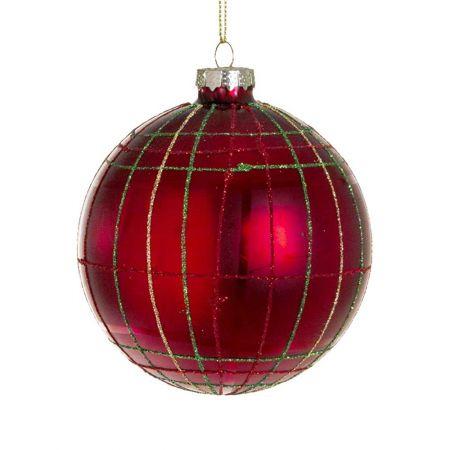 Χριστουγεννιάτικη μπάλα γυάλινη καρώ με glitter , 10cm