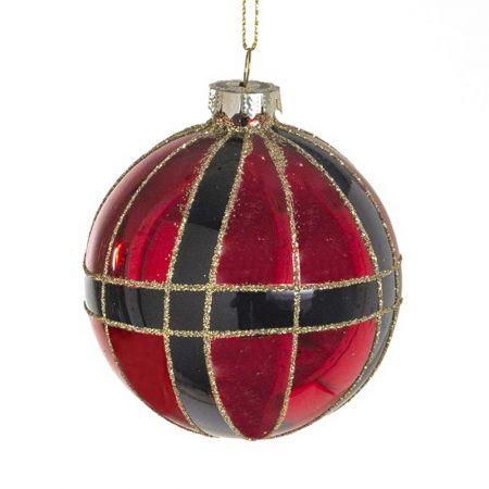 Χριστουγεννιάτικη μπάλα γυάλινη καρώ με glitter Kόκκινη - Μαύρη 10cm