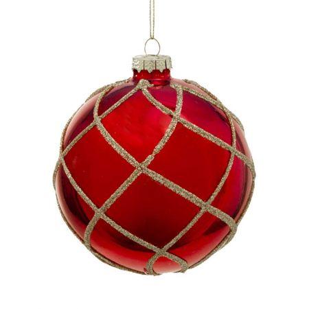 Χριστουγεννιάτικη μπάλα γυάλινη με ρόμβους και glitter κόκκινο , 10cm