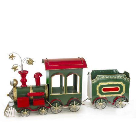 Μεταλλικό τραινάκι κόκκινο - πράσινο - χρυσό, 86,5cm