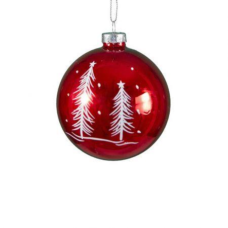 Χριστουγεννιάτικη μπάλα γυάλινη με δεντράκια Κόκκινη 8cm