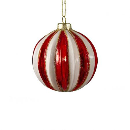 Χριστουγεννιάτικη μπάλα γυάλινη ριγέ Κόκκινη - Λευκή 8cm