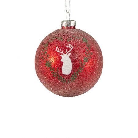 Χριστουγεννιάτικη μπάλα γυάλινη με ελάφι Κόκκινη 8cm