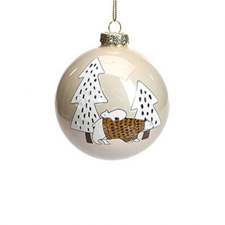 Χριστουγεννιάτικη γυάλινη μπάλα με Αρκούδα Κρεμ - Καφέ 8cm