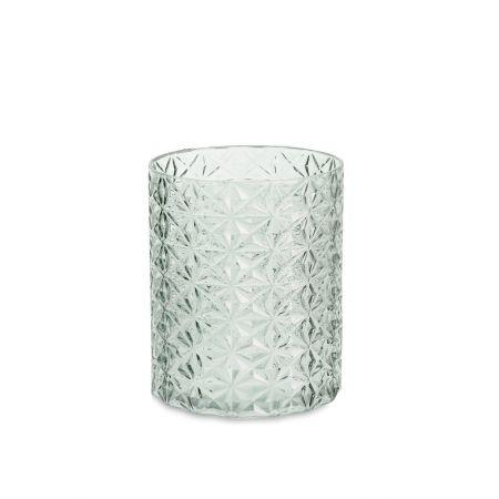 Γυάλινο κηροπήγιο - ποτήρι με ανάγλυφο σχέδιο Πράσινο 15x20cm