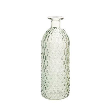 Γυάλινο βάζο - μπουκάλι με ανάγλυφο σχέδιο Πράσινο 8.5x26cm
