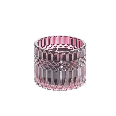 Αρωματικό κερί σε γυάλινο κηροπήγιο Ροζ 9x10cm