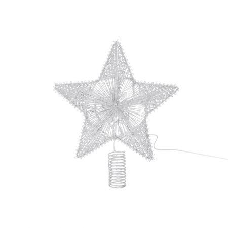 Κορυφή Χριστουγεννιάτικου δέντρου αστέρι με LED μπαταρίας Ασημί 25cm