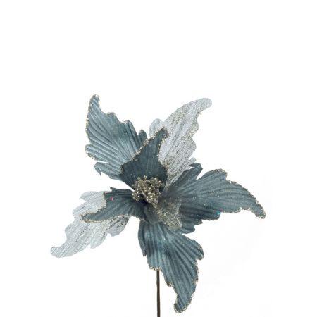 Χριστουγεννιάτικο Αλεξανδρινό λουλούδι Μπλε - Γαλάζιο 24x20cm