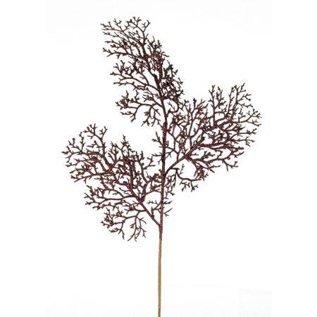 Χριστουγεννιάτικο κλαδί - κοράλλι με glitter Μπορντό 65cm